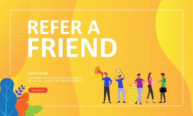 Refer a friend concept design può essere utilizzato per la pagina di destinazione web