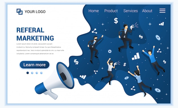 Referral marketing concept, riferire a un amico, metodo di promozione con personaggi.