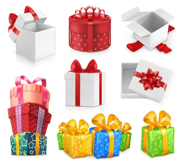Regali di compleanno, regali di confezionamento, scatole con fiocchi, carta decorativa, set di vettori