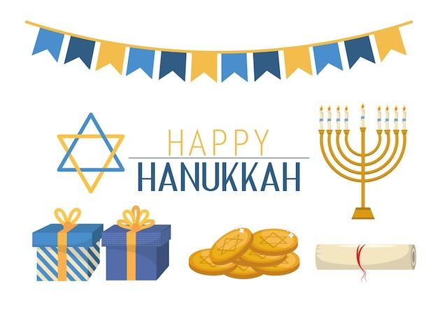 Regali di hanukkah e celebrazione di stelle di david