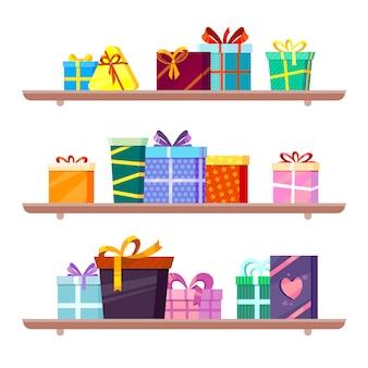 Regali sugli scaffali. accogliere i pacchetti colorati di varie forme con il concetto di merchandise dei nastri di seta con il vettore dei beni di festa