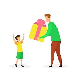 Regalo di compleanno all'illustrazione piana di vettore del figlio