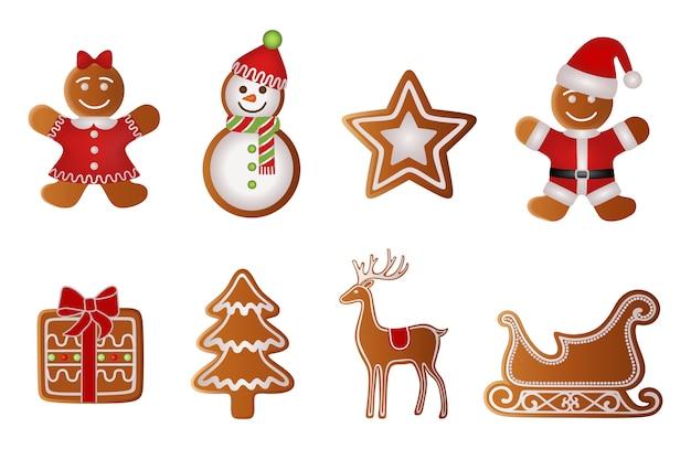 Regalo di natale, albero, renna, slitta, ragazza, pupazzo di neve, stella e babbo natale panpepato