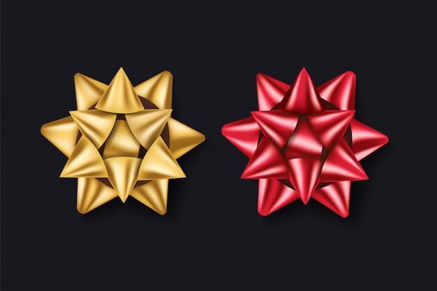 Regalo fiocchi d'oro e rossi. decorazione scatola regalo rbbon.