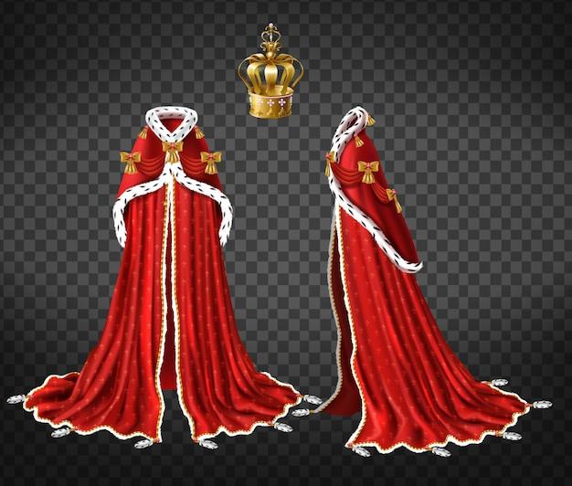 Reggiseno reale delle regine o dei principi con mantello rosso e mantello di pelliccia di ermellino