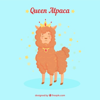 Regina alpaca sullo sfondo