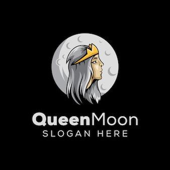 Regina con l'illustrazione del logo della luna, logo della mascotte di sogno della donna di bellezza