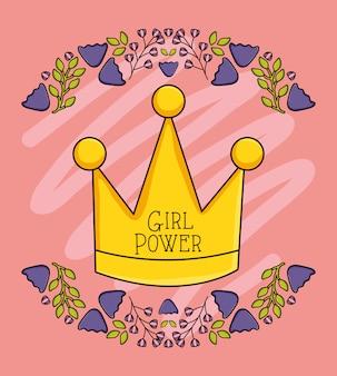 Regina della corona con ghirlanda floreale in stile pop art
