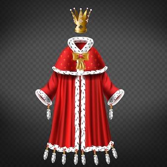 Regine, abito da principessa con mantello, mantello di pelliccia di ermellino, nappe decorate