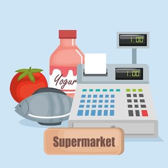 Registratore di cassa del supermercato con prodotti