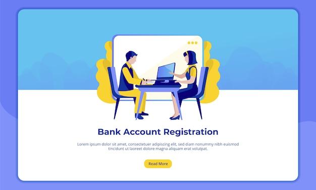Registrazione del conto bancario per le landing page del settore bancario
