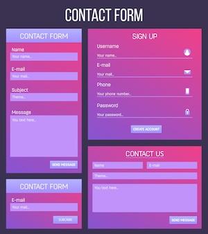 Registrazione del sito web o contatto di accesso ui, modulo ux