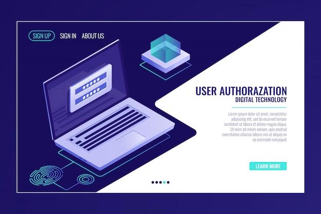 Registrazione utente o pagina di accesso, feedback, laptop con modulo di autorizzazione, modello di pagina web