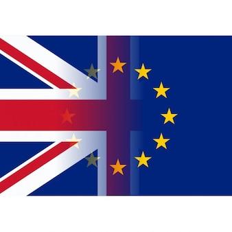 Regno unito e bandiere dell'unione europea fusione