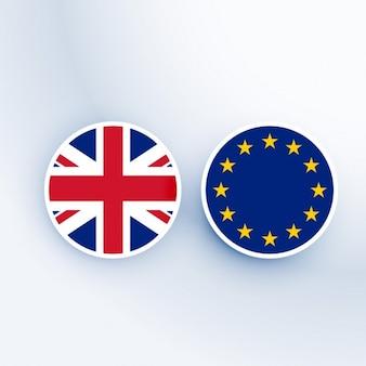 Regno unito e simbolo dell'unione europea e distintivi