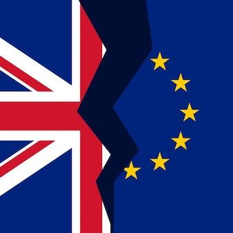 Regno unito e unione europea bandiera rotto concetto