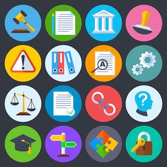 Regolamentazione aziendale, conformità legale e icone piane di vettore del copyright. regolamento legale di legge, complia