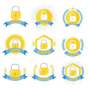 Regolamento generale sulla protezione dei dati - set di loghi gdpr. illustrazione vettoriale