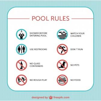 Regole di sicurezza della piscina segnali vettoriali