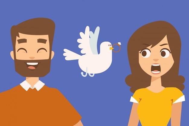 Relazione delle coppie, personaggi dei cartoni animati divertenti, illustrazione. proposta di matrimonio romantico, ragazzo che ride e ragazza sorpresa. coppia di cartoni animati alla data