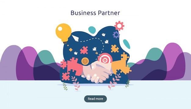 Relazione di partnership commerciale con stretta di mano e carattere di persone minuscole. concetto di lavoro di squadra.