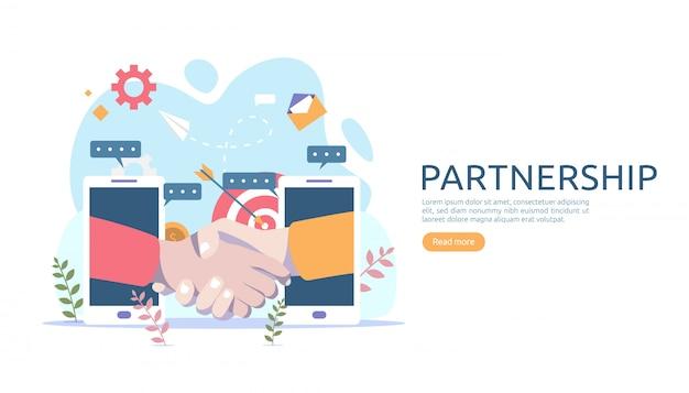 Relazione di partnership commerciale con stretta di mano e carattere di persone minuscole.
