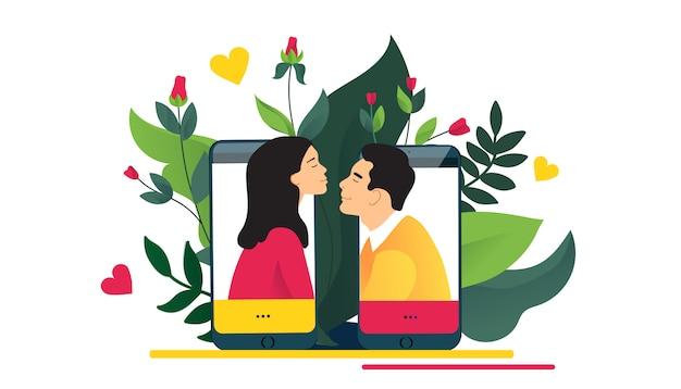 Relazioni virtuali, incontri online o concetto di social network. adoro attraverso internet.