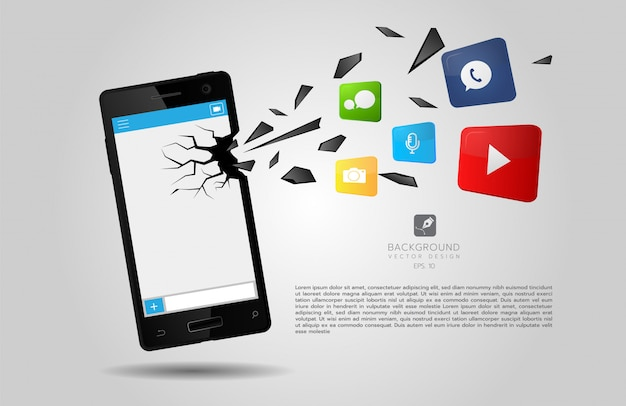 Rendering di app rompendo lo schermo di uno smartphone