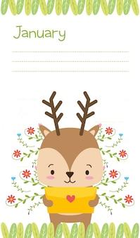 Renna con lettera d'amore, simpatico cartone animato animale e stile piano, illustrazione