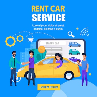 Rent car service square banner mobile app solution