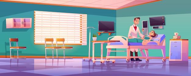 Reparto di ospedale con medico e paziente sul letto