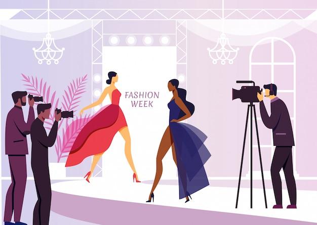 Reportage di sfilate di moda piatto