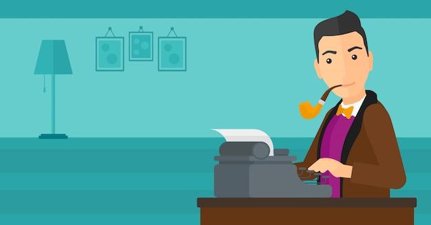 Reporter che lavora alla macchina da scrivere.