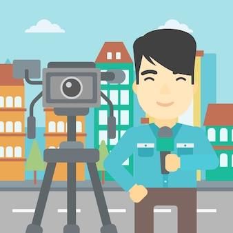 Reporter tv con microfono e fotocamera.