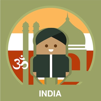 Residente dell'india sull'illustrazione del fondo nazionale