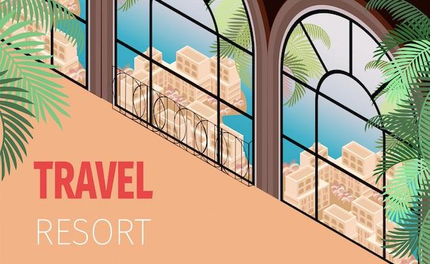Resort hotel building window con bella vista