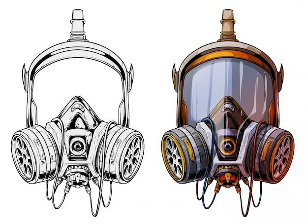 Respiratore protettivo dettagliato con maschera antigas grafica