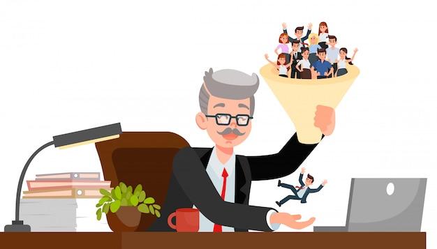 Responsabile delle risorse umane che sceglie l'illustrazione di vettore del candidato