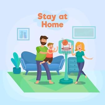 Resta a casa con l'illustrazione della famiglia