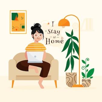 Resta a casa concetto