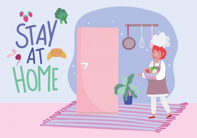 Resta a casa, cuoca con una ciotola piena di verdure, cucina attività di quarantena