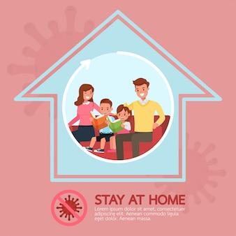 Resta a casa, ferma il concept design coronavirus n. 2
