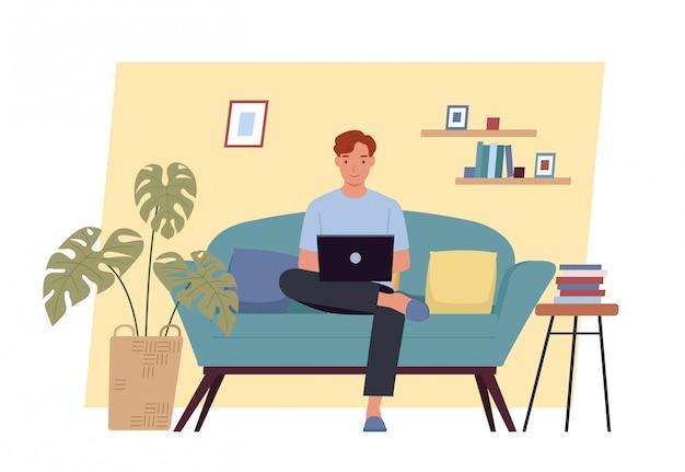 Resta a casa. giovane che lavora al computer portatile a casa. libero professionista, lavoro a casa, lavoro a distanza e home office. illustrazione vettoriale in uno stile piatto