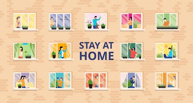 Resta a casa, illustrazione di casa piena di persone. autoisolamento, distanza sociale in un edificio residenziale con finestre aperte.
