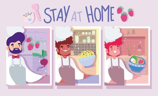 Resta a casa, insieme di uomini chef in cucina, cucina attività di quarantena