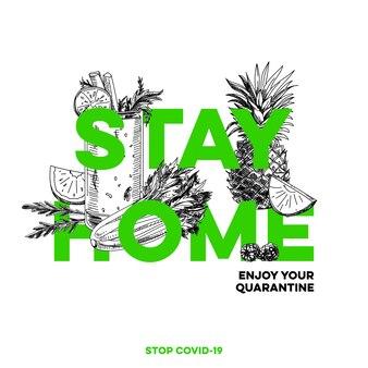 Resta a casa, migliore protezione contro un'infezione virale covid-19, illustrazione retrò disegnata a mano.