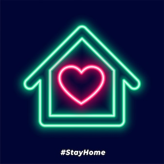 Resta a casa poster con neon e cuore