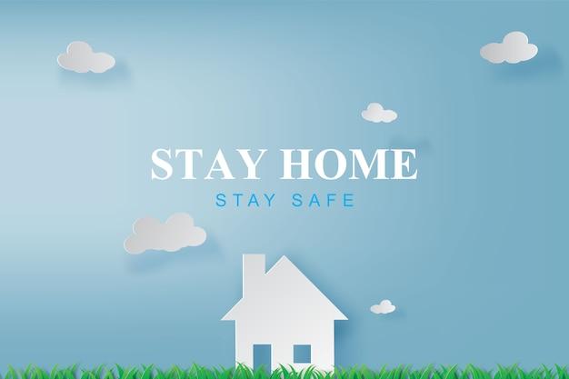 Resta a casa, resta sullo sfondo dell'ambiente ecologico, tieni la zona sicura con l'icona di casa contro il virus.