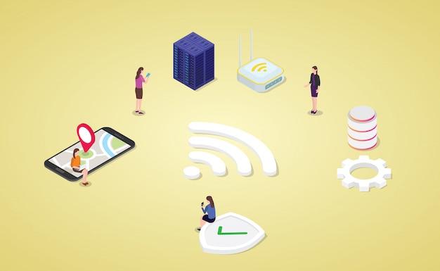 Resta connesso con la tecnologia internet wifi con un moderno stile isometrico