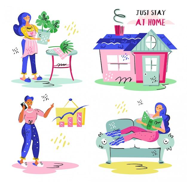 Resta semplicemente a casa. home office, piante che crescono in casa. autoisolamento pandemico di coronavirus, assistenza sanitaria, protezione. autoadesivo variopinto piano dell'icona dell'illustrazione di vettore isolato su fondo bianco.